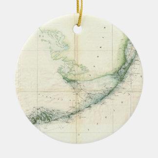 Mapa do vintage das chaves de Florida (1859) Ornamento De Cerâmica Redondo