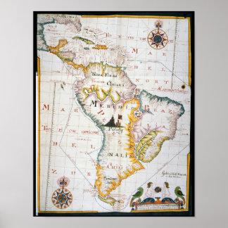 Mapa do vintage de Ámérica do Sul Pôster