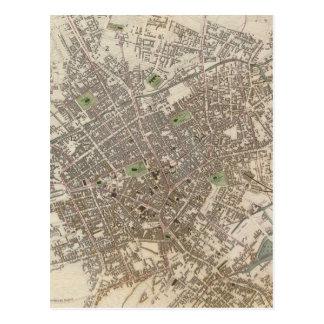 Mapa do vintage de Birmingham Inglaterra (1839) Cartão Postal