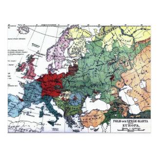 Mapa do vintage de Europa 1876 Cartão Postal