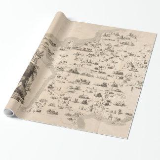 Mapa do vintage de France (1809) Papel De Presente