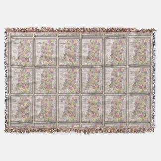Mapa do vintage de Mississippi (1853) Throw Blanket