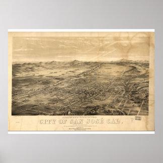 Mapa do vintage de San Jose, 1869 Pôster