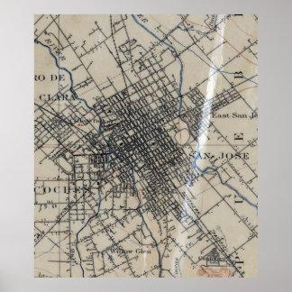 Mapa do vintage de San Jose Califórnia (1895) Pôster