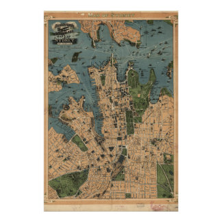 Mapa do vintage de Sydney, Austrália Pôster