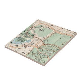 Mapa do vintage do Central Park (1860) Azulejo Quadrado Pequeno