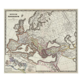 Mapa do vintage do império romano (1865) pôster
