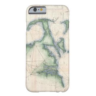Mapa do vintage do litoral de Massachusetts Capa Barely There Para iPhone 6