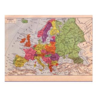 Mapa do vintage, Europa cerca de 1920 Cartão Postal