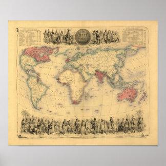mapa dos 1850's do Império Britânico no mundo Poster