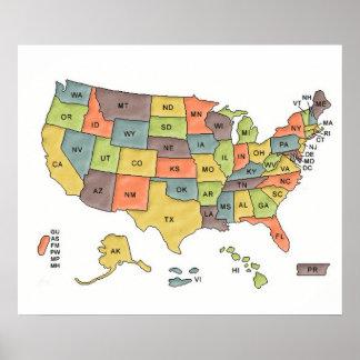 Mapa dos estados dos EUA Pôster
