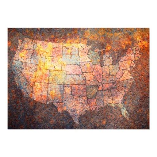 Mapa dos Estados Unidos da América Convite Personalizados