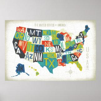 Mapa dos EUA da tipografia Pôster