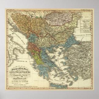 Mapa etnográfico do império otomano pôster