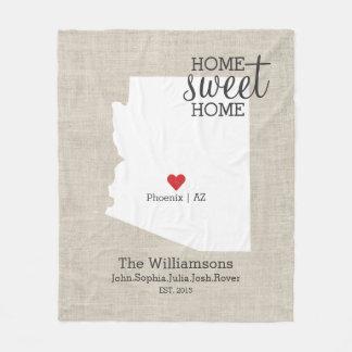 Mapa feito sob encomenda Home doce da casa do amor Cobertor De Lã