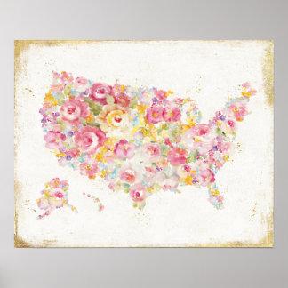 Mapa floral dos EUA Pôster