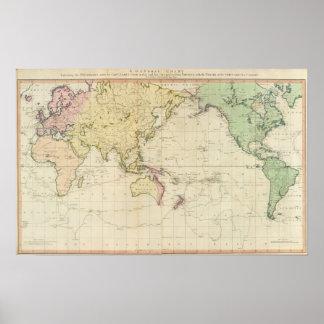 Mapa histórico da carta geral poster