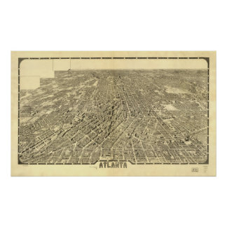 Mapa histórico de Atlanta, Geórgia, 1919 Poster