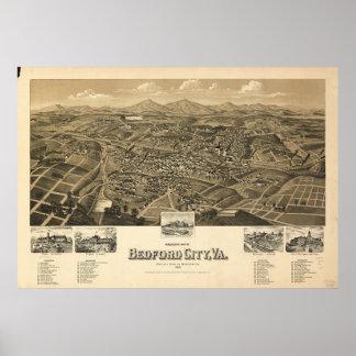 Mapa histórico de Bedford Virgínia Poster