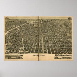 Mapa histórico de Denver, 1889 Poster