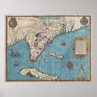 Mapa histórico de Florida (1591) Poster