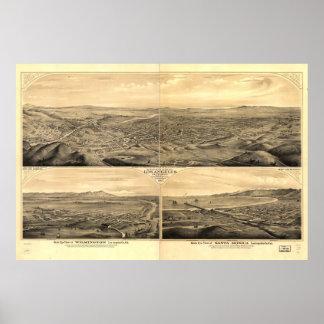 Mapa histórico de Los Angeles, 1877 Poster