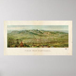 Mapa histórico do pico dos piques, Colorado 1890 Pôster