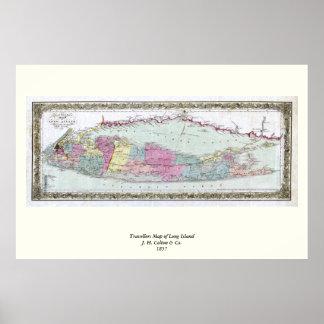 Mapa histórico dos viajantes 1855-1857 de Long Pôster