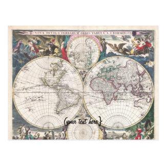 Mapa histórico - nova Totius Terrarum Orbis Tabula Cartões Postais