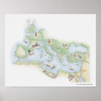 Mapa ilustrado do império romano impressão
