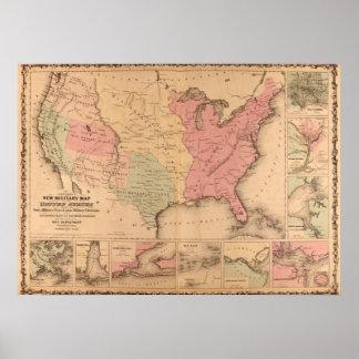 Mapa militar americano 1862 da guerra civil pôster