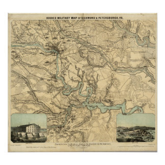 Mapa militar de Hughes de Richmond e de Petersburg Poster