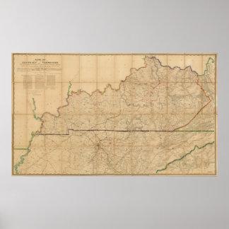 Mapa militar dos estados de Kentucky Poster