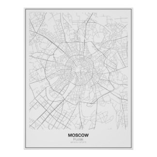 Mapa minimalista de Moscovo, Rússia Póster