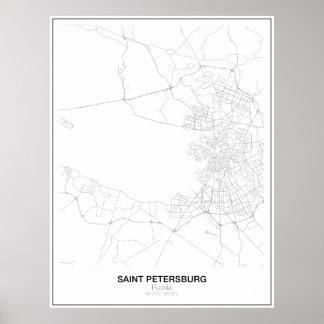 Mapa minimalista de St Petersburg, Rússia Poster