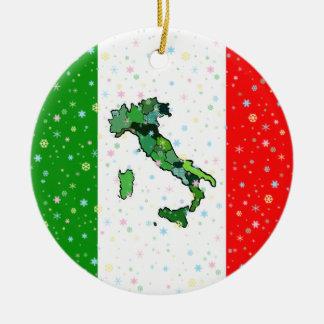 Mapa original de flocos de neve italianos da ornamento de cerâmica redondo
