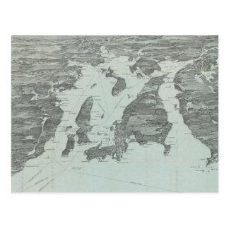Mapa pictórico do vintage da baía de Narragansett Cartão Postal