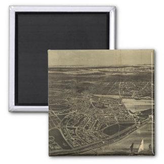 Mapa pictórico do vintage da cidade da casa de cam ímã quadrado