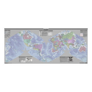 Mapa político do mundo de Cahill-Keyes Pôster