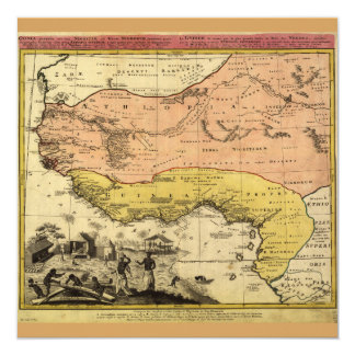Mapa velho de África ocidental cerca de 1743 Convite Quadrado 13.35 X 13.35cm