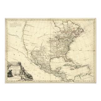 Mapa velho de America do Norte (1783) Convite 12.7 X 17.78cm