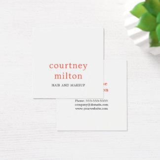 Maquilhador branco elegante minimalista do cartão de visitas quadrado