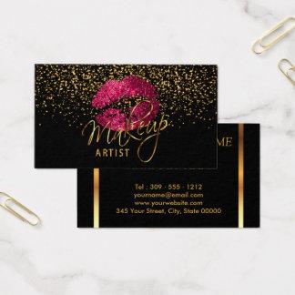 Maquilhador com confetes do ouro & lábios do rosa cartão de visitas