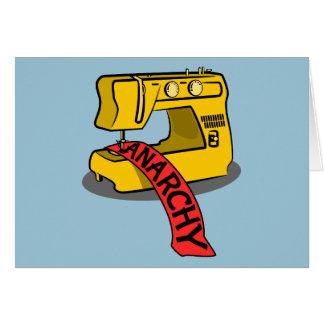 Máquina de costura amarela da anarquia cartão comemorativo