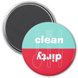 Máquina de lavar louça azul vermelha limpa suja do imã de refrigerador
