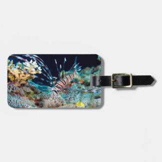 Mar coral do grande recife de coral do Lionfish Etiqueta De Bagagem