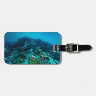 Mar coral dos grandes peixes tropicais do recife etiqueta de mala