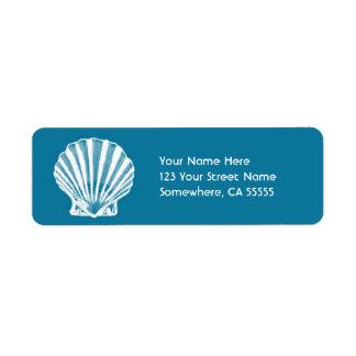 Mar Shell do endereço do remetente Label//Blue Etiqueta Endereço De Retorno