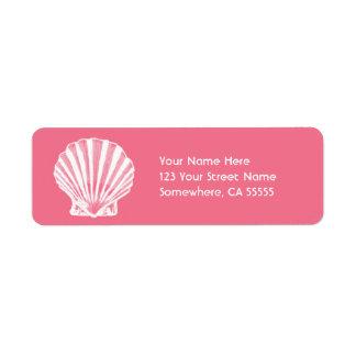 Mar Shell do endereço do remetente Label//Pink Etiqueta Endereço De Retorno