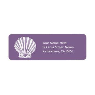 Mar Shell do endereço do remetente Label//Purple Etiqueta Endereço De Retorno